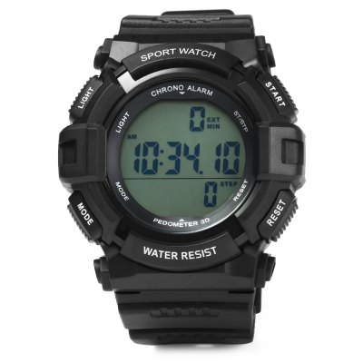 Skmei 1116 Pedometer Water Resistant Digital WatchSports Watches<br>Skmei 1116 Pedometer Water Resistant Digital Watch<br><br>Brand: Skmei<br>Watches categories: Male table<br>Watch style: Trends in outdoor sports<br>Style elements: LED<br>Available color: Black, Blue<br>Movement type: Digital watch<br>Shape of the dial: Round<br>Display type: Digital<br>Hour formats: 12/24 Hour<br>Case material: PC<br>Band material: PU<br>Clasp type: Pin buckle<br>Band color: Black<br>Special features: Alarm clock, Stopwatch, Pedometer, Calendar, Date, Week<br>Water Resistance: 50 meters<br>The dial thickness: 1.8 cm / 0.71 inches<br>The dial diameter: 4.9 cm / 1.93 inches<br>The band width: 2 cm / 0.79 inches<br>Wearable Length:: 16 - 23 cm / 6.30 - 9.06 inches<br>Product weight: 0.058 kg<br>Package weight: 0.063 kg<br>Product size (L x W x H): 25 x 4.9 x 1.8 cm / 9.83 x 1.93 x 0.71 inches<br>Package size (L x W x H): 26 x 5.9 x 2.8 cm / 10.22 x 2.32 x 1.10 inches<br>Package Contents: 1 x Skmei 1116 Pedometer Sports Digital Watch