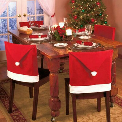 6pcs Santa Claus Red Hat Chair Back Cover
