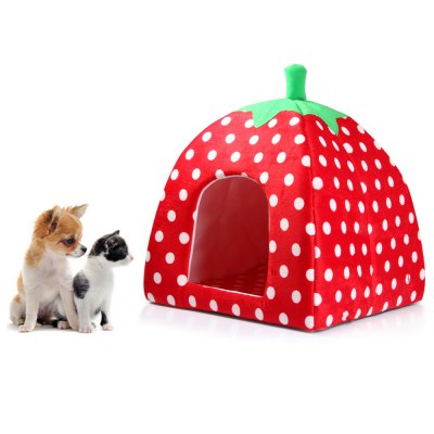 Plush Strawberry Pet Bed