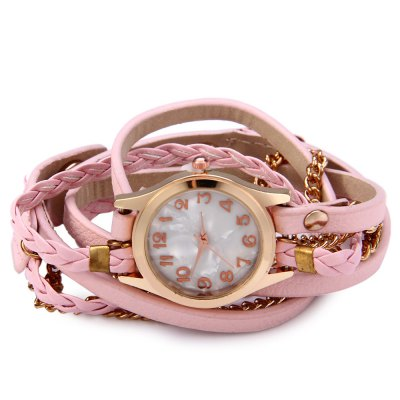 Women Antique Weave Bracelet Analog Wrist WatchWomens Watches<br>Women Antique Weave Bracelet Analog Wrist Watch<br><br>Watches categories: Female table<br>Available color: Pink,Black,White,Red,Blue,Purple,Brown<br>Style: Bracelet,Retro<br>Movement type: Quartz watch<br>Shape of the dial: Round<br>Display type: Analog<br>Case material: Zinc-alloy + stainless steel<br>Band material: Leather<br>Clasp type: Buckle<br>The dial thickness: 0.8 cm / 0.31 inches<br>The dial diameter: 2.5 cm / 0.98 inches<br>The band width: 1 cm / 0.39 inches<br>Wearable length: 54 - 57 cm / 21.26 -22.44 inches<br>Product weight: 0.035KG<br>Package weight: 0.040 KG<br>Package size (L x W x H): 26.000 x 6.000 x 1.000 cm / 10.236 x 2.362 x 0.394 inches<br>Package Contents: 1 x Women Antique Bracelet Wrist Watch