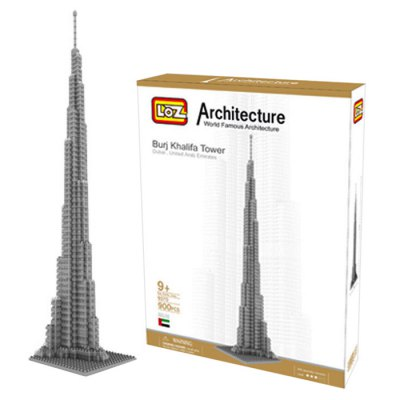 LOZ 900Pcs 9370 Burj Khalifa Tower Building Block Educational Toy for Cooperative Ability - World Great Architecture Series