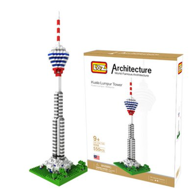 LOZ 550Pcs 9368 Kuala Lumpur Tower Building Block Educational Toy for Cooperative Ability - World Great Architecture Series