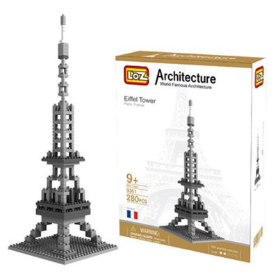 LOZ 280Pcs 9361 Eiffel Tower Building Block Educational Toy for Cooperative Ability - World Great Architecture Series