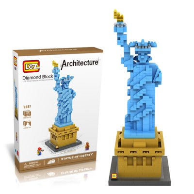 LOZ 820Pcs 9387 Statue of Liberty Building Block Educational Toy for Cooperative Ability - World Great Architecture Series