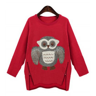 Stylish Scoop Neck Long Sleeve Owl Pattern Zipper Design Sweatershirt For Women
