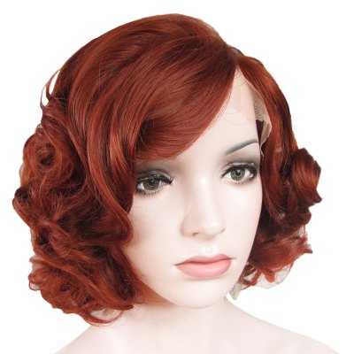 Stunning Short Brown Side Bang Synthetic Vogue Shaggy Curly Lace Front Wig For Women