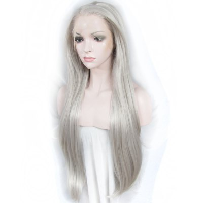 Outstanding Extra Long Synthetic Trendy Silky Straight Mixed Color Lace Front Wig For Women