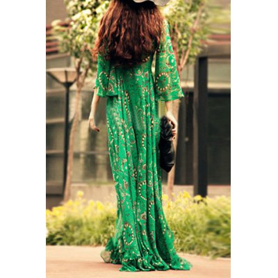 Noble Green V-Neck Printed Ruffled Hem 3/4 Bell Sleeve Maxi Dress For WomenWomens Dresses<br>Noble Green V-Neck Printed Ruffled Hem 3/4 Bell Sleeve Maxi Dress For Women<br><br>Style: Bohemian<br>Material: Polyester<br>Silhouette: A-Line<br>Dresses Length: Floor-Length<br>Neckline: V-Neck<br>Sleeve Type: Flare Sleeve<br>Sleeve Length: 3/4 Length Sleeves<br>Pattern Type: Print<br>With Belt: No<br>Season: Fall<br>Weight: 0.317KG<br>Package Contents: 1 x Dress