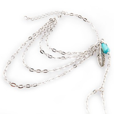 Faux Turquoise Feather Layered Bracelet