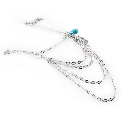 Stylish Turquoise Feather Layered Bracelet For Women