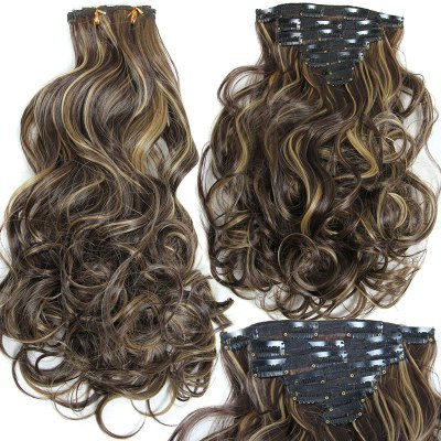 Long Clip-In Synthetic Fluffy Curly Hair Extension Suit