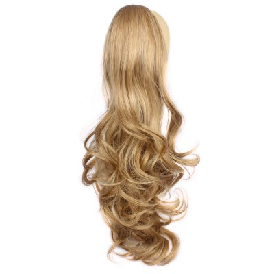 Vogue Long Fluffy Wave Claw Clip Brown Blonde Mixed Synthetic Ponytail For Women