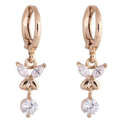 Pair of Vintage Rhinestone Butterfly Shape Earrings For Women