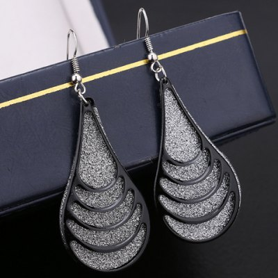 Pair of Trendy Dull Polish Water Drop Hollow Out Earrings For Women