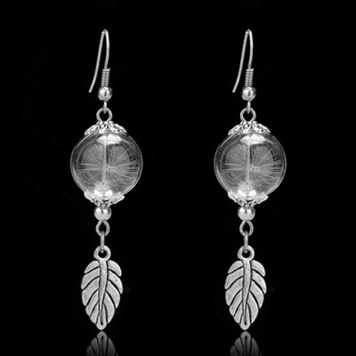Pair of Trendy Glass Ball Dandelion Leaf Earrings For Women
