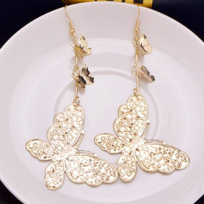 Pair of Elegant Solid Color Butterfly Earrings For Women