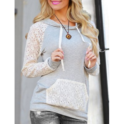 Sweet Hooded Long Sleeve Lace Spliced Womens Pullover HoodieWomens Hoodies &amp; Sweatshirts<br>Sweet Hooded Long Sleeve Lace Spliced Womens Pullover Hoodie<br><br>Material: Polyester<br>Clothing Length: Regular<br>Sleeve Length: Full<br>Style: Casual<br>Pattern Style: Patchwork<br>Weight: 0.470KG<br>Package Contents: 1 x Hoodie