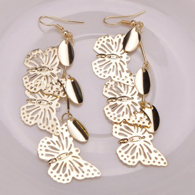 Pair of Alloy Hollow Out Butterfly Earrings