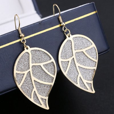Pair of Delicate Dull Polish Leaf Earrings For Women