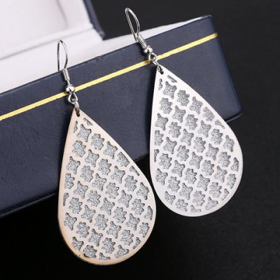 Pair of Graceful Water Drop Hollow Out Dull Polish Earrings For Women