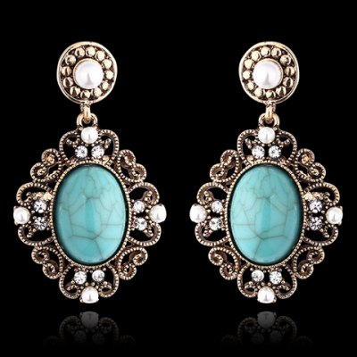 Pair of Vintage Hollow Out Rhinestone Turquoise Women's Earrings