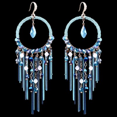 Pair of Classic Faux Crystal Tassels Earrings For Women