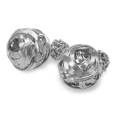 Stylish Versatile Plated Sterling Metal Wire Ball Stud Earrings