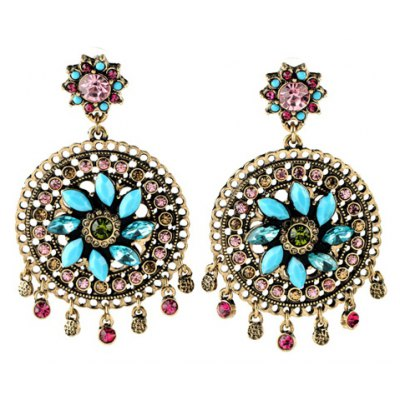 Pair of Bohemian Style Faux Crystal Floral Earrings For Women