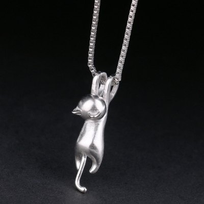 Characteristic Pure Color Mill Finish Kitten Shape Necklace For Women