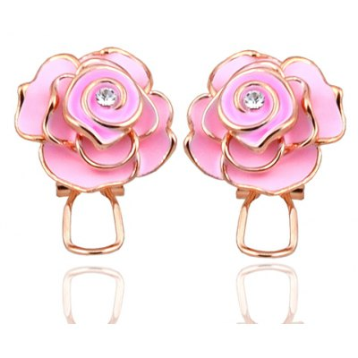 Pair of Fashionable Rhinestone Floral Earrings For Women