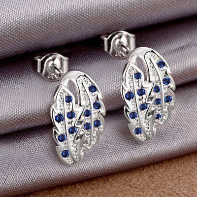 Pair of Trendy Leaf Shape Rhinsstone Glitter Silver Plated Stud Earrings for WomenEarrings<br>Pair of Trendy Leaf Shape Rhinsstone Glitter Silver Plated Stud Earrings for Women<br><br>Earring Type: Stud Earrings<br>Gender: For Women<br>Material: Copper<br>Metal Type: Silver Plated<br>Style: Trendy<br>Shape/Pattern: Others<br>Length: E:1.5X0.9CM<br>Weight: 0.01KG<br>Package Contents: 1 x Stud Earrings(Pair)