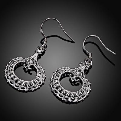Pair of Classical Round Shape Hollow Out Glitter Silvered Plated Drop Earrings for Women