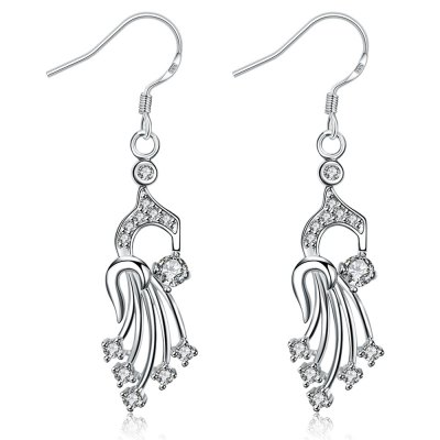 Classic Glitter Rhinestone Silver Plated Hollow Out Ladies Drop Earrings