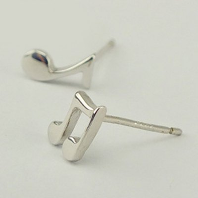 Pair of Cute Solid Color Music Note Asymmetric Earrings For Women