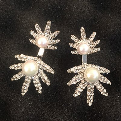 Pair of Charming  Rhinestoned Faux Pearl  Earrings For WomenEarrings<br>Pair of Charming  Rhinestoned Faux Pearl  Earrings For Women<br><br>Earring Type: Drop Earrings<br>Gender: For Women<br>Style: Classic<br>Shape/Pattern: Others<br>Length: 4.2CM<br>Weight: 0.05KG<br>Package Contents: 1 x Earring (Pair)
