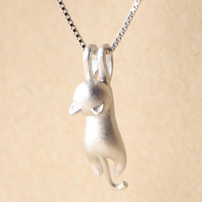 Characteristic Pure Color Dull Polish Kitten Shape Necklace For Women