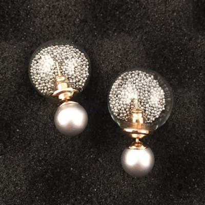 Sweet Faux Pearl Round Bottle Earrings