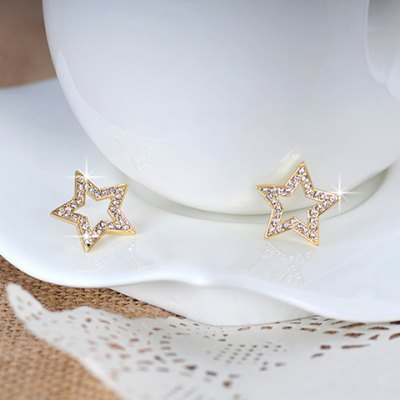 Pair of Chic Rhinestoned Hollow Out Star Earrings For WomenEarrings<br>Pair of Chic Rhinestoned Hollow Out Star Earrings For Women<br><br>Earring Type: Stud Earrings<br>Gender: For Women<br>Material: Rhinestone<br>Style: Trendy<br>Shape/Pattern: Star<br>Length: 2CM<br>Weight: 0.04KG<br>Package Contents: 1 x Earring(Pair)
