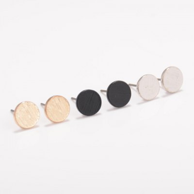 Simple Solid Color Round Earrings