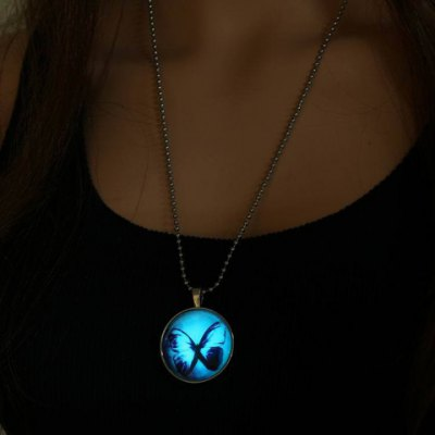 Stylish Butterfly Round Luminous Necklace For Women