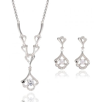 A Suit of Charming Solid Color Rhinestoned Hollow Out Necklace and Earrings For Women