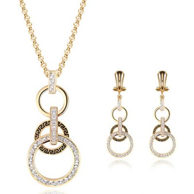A Suit of Chic Rhinestoned Hollow Out Round Necklace and Earrings For Women