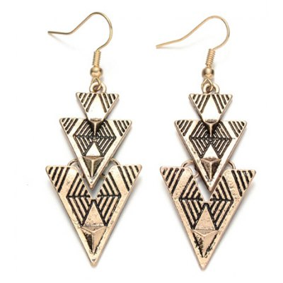 Pair of Vintage Geometric Shape Earrings For Women