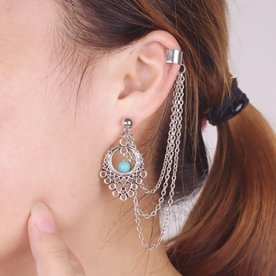 Vintage Turquoise Tassel Hollow Out Ear Cuff
