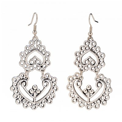 Pair of Vintage Hollow Out Heart Earrings For Women