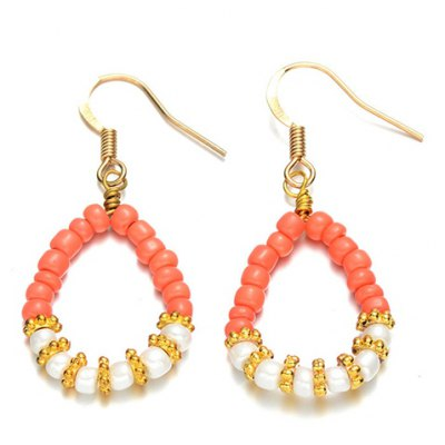 Pair of Graceful Faux Pearl Bead Waterdrop Earrings For Women