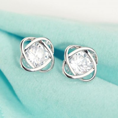 Pair of Alloy Rhinestone Love Knot Earrings