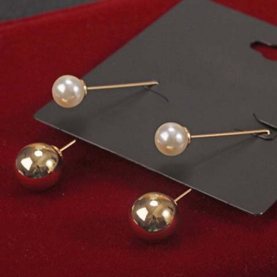 Pair of Alloy Faux Pearl Ball Shape Earrings