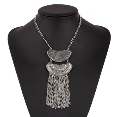 Vintage Rhinestoned Tassel Necklace For Women