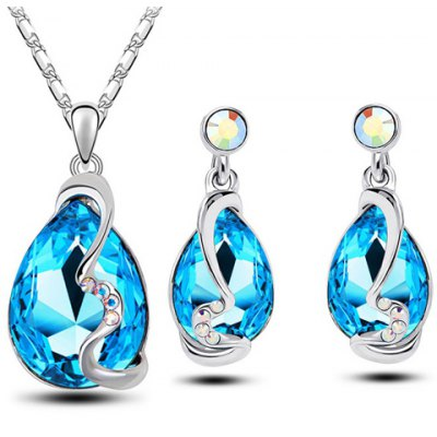 Faux Crystal Teardrop Necklace and Earrings